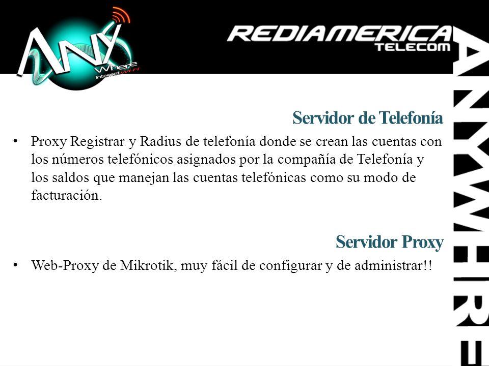 Servidor de Telefonía Proxy Registrar y Radius de telefonía donde se crean las cuentas con los números telefónicos asignados por la compañía de Telefo