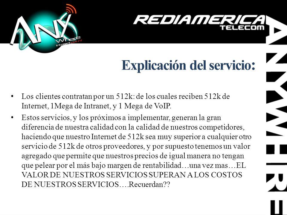 Explicación del servicio : Los clientes contratan por un 512k: de los cuales reciben 512k de Internet, 1Mega de Intranet, y 1 Mega de VoIP. Estos serv