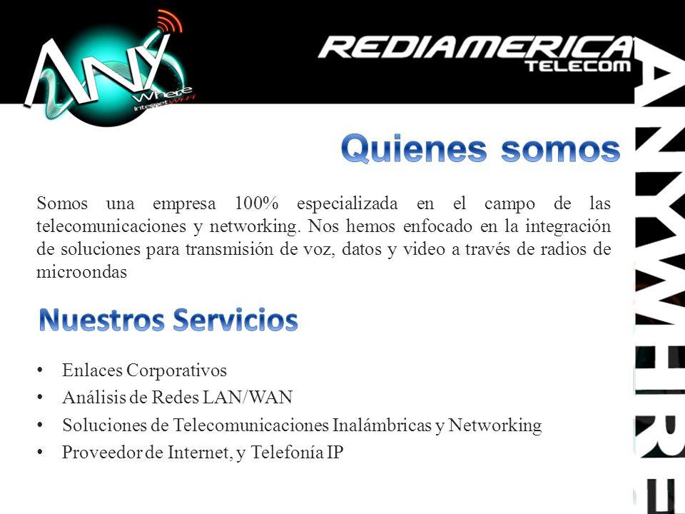 Enlaces Corporativos Análisis de Redes LAN/WAN Soluciones de Telecomunicaciones Inalámbricas y Networking Proveedor de Internet, y Telefonía IP Somos