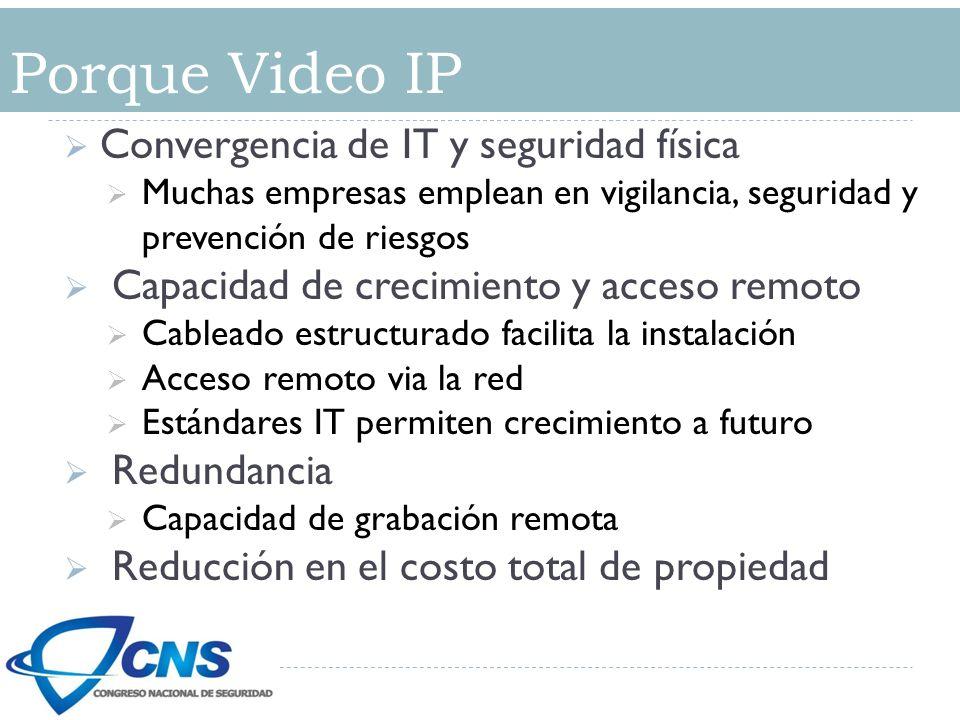 Convergencia de IT y seguridad física Muchas empresas emplean en vigilancia, seguridad y prevención de riesgos Capacidad de crecimiento y acceso remoto Cableado estructurado facilita la instalación Acceso remoto via la red Estándares IT permiten crecimiento a futuro Redundancia Capacidad de grabación remota Reducción en el costo total de propiedad Porque Video IP