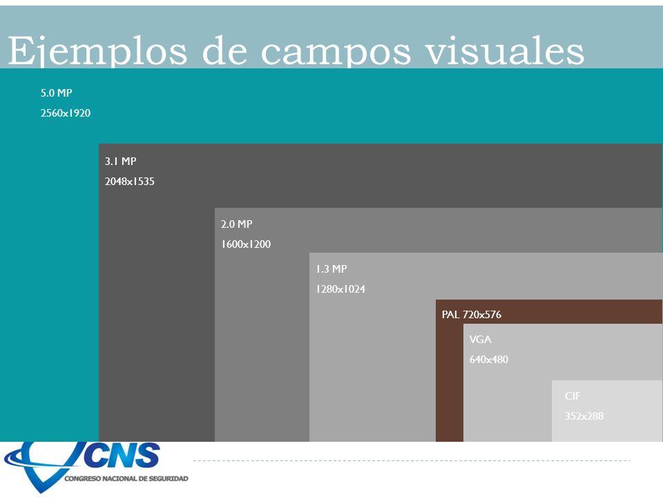 Ejemplos de campos visuales 5.0 MP 2560x1920 3.1 MP 2048x1535 2.0 MP 1600x1200 1.3 MP 1280x1024 PAL 720x576 VGA 640x480 CIF 352x288