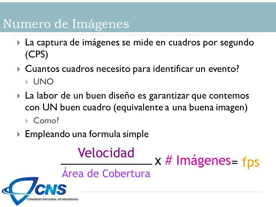Numero de Imágenes La captura de imágenes se mide en cuadros por segundo (CPS) Cuantos cuadros necesito para identificar un evento.