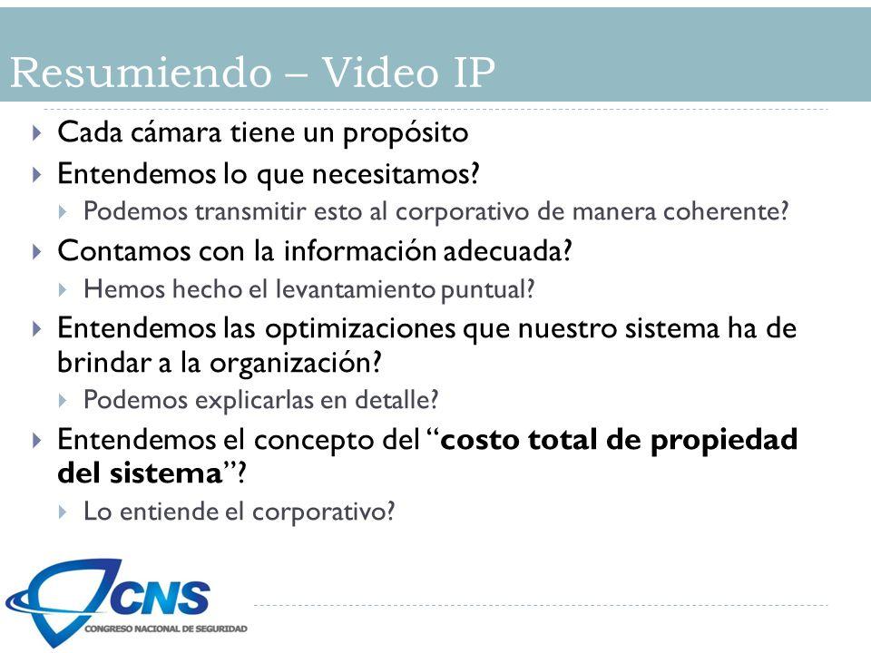 Resumiendo – Video IP Cada cámara tiene un propósito Entendemos lo que necesitamos? Podemos transmitir esto al corporativo de manera coherente? Contam