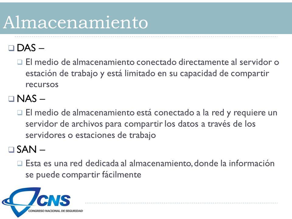 Almacenamiento DAS – El medio de almacenamiento conectado directamente al servidor o estación de trabajo y está limitado en su capacidad de compartir
