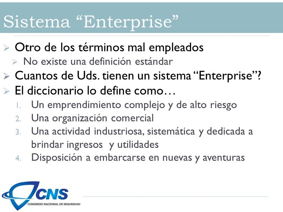 Otro de los términos mal empleados No existe una definición estándar Cuantos de Uds. tienen un sistema Enterprise? El diccionario lo define como… 1. U