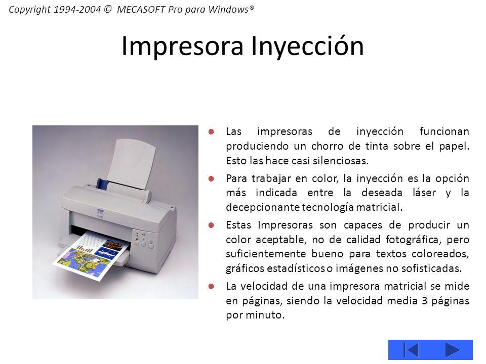 Las impresoras de inyección funcionan produciendo un chorro de tinta sobre el papel.