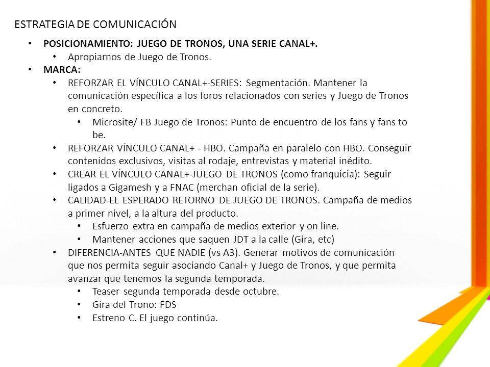 ESTRATEGIA DE COMUNICACIÓN POSICIONAMIENTO: JUEGO DE TRONOS, UNA SERIE CANAL+. Apropiarnos de Juego de Tronos. MARCA: REFORZAR EL VÍNCULO CANAL+-SERIE