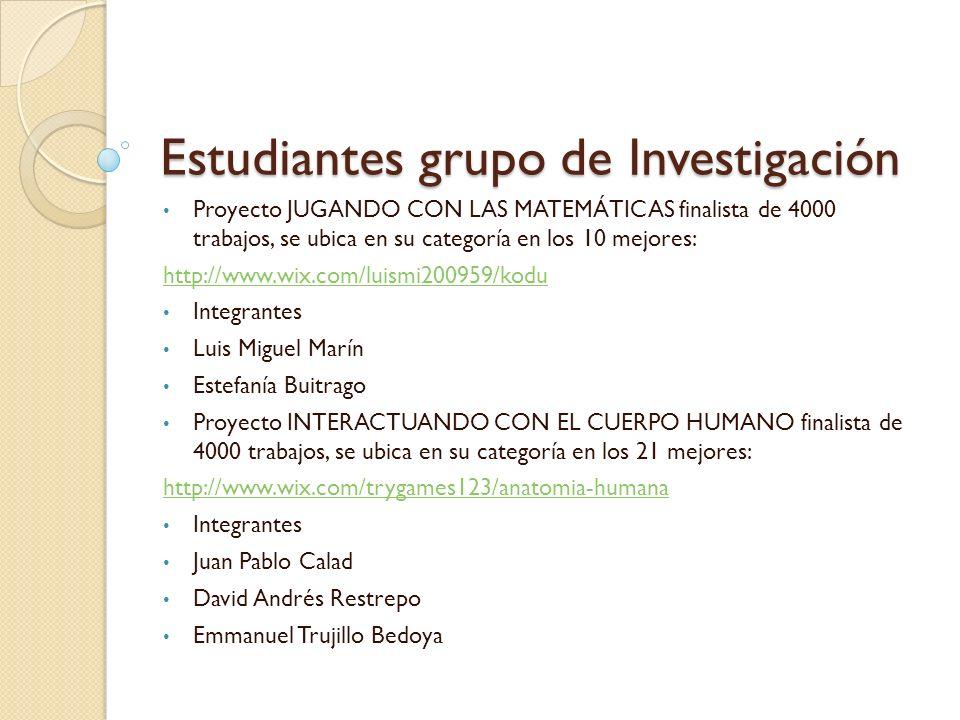 Estudiantes grupo de Investigación Proyecto JUGANDO CON LAS MATEMÁTICAS finalista de 4000 trabajos, se ubica en su categoría en los 10 mejores: http:/