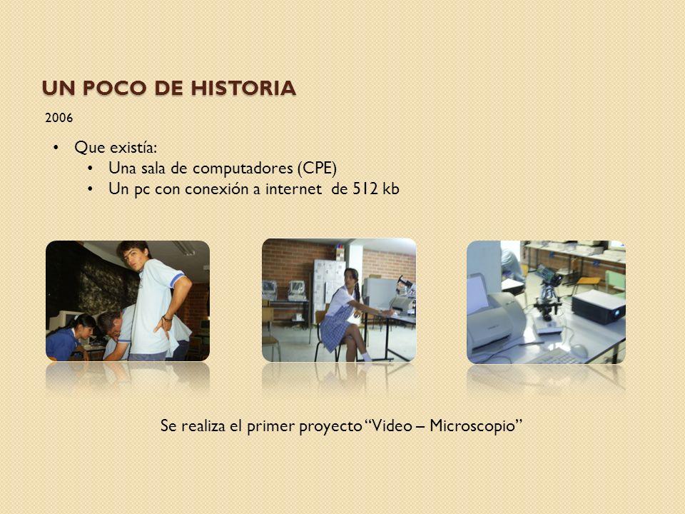 UN POCO DE HISTORIA 2006 Que existía: Una sala de computadores (CPE) Un pc con conexión a internet de 512 kb Se realiza el primer proyecto Video – Mic