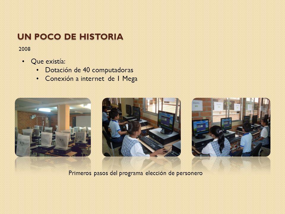 UN POCO DE HISTORIA 2009 Que existía: Dotación de 40 computadoras Conexión a internet de 2mega para todos los equipos Proyecto tabla periódica digital interactiva XI Expociencia Expotecnología 2009 en el Año Internacional de la Astronomía.