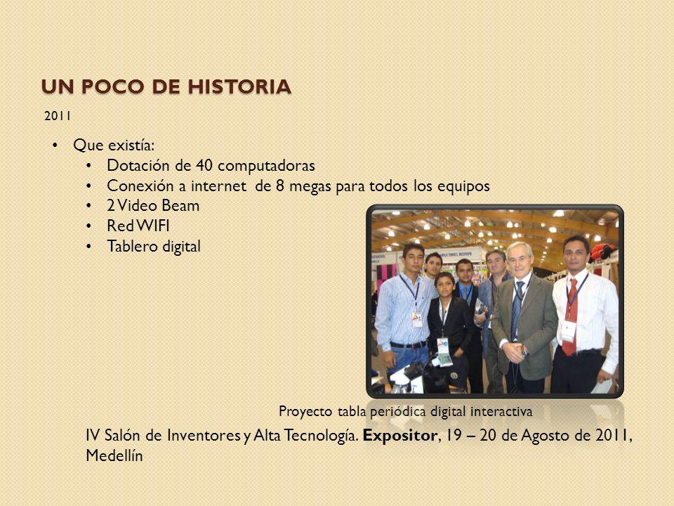 UN POCO DE HISTORIA 2011 IV Salón de Inventores y Alta Tecnología. Expositor, 19 – 20 de Agosto de 2011, Medellín Proyecto tabla periódica digital int