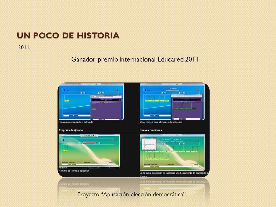 UN POCO DE HISTORIA 2011 Ganador premio internacional Educared 2011 Proyecto Aplicación elección democrática