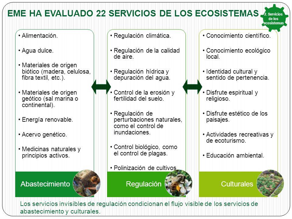 EME HA EVALUADO 22 SERVICIOS DE LOS ECOSISTEMAS Alimentación.