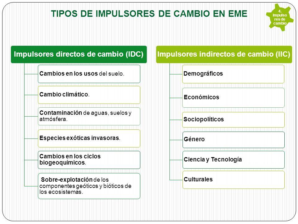 TIPOS DE IMPULSORES DE CAMBIO EN EME Impulsores directos de cambio (IDC) Cambios en los usos del suelo.