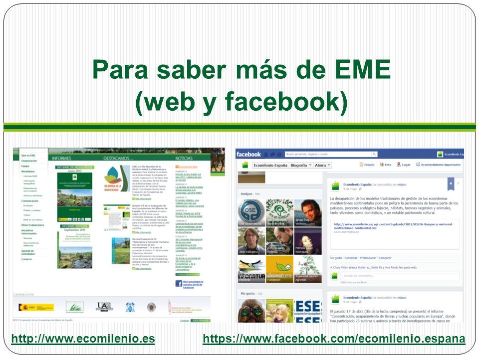 Para saber más de EME (web y facebook) http://www.ecomilenio.eshttps://www.facebook.com/ecomilenio.espana