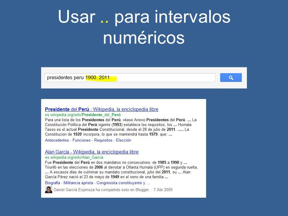 Usar.. para intervalos numéricos
