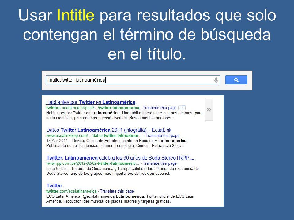 Usar Intitle para resultados que solo contengan el término de búsqueda en el título.
