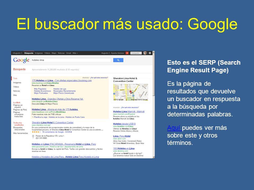 El buscador más usado: Google Esto es el SERP (Search Engine Result Page) Es la página de resultados que devuelve un buscador en respuesta a la búsqueda por determinadas palabras.
