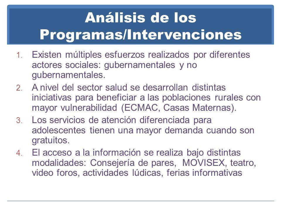 Análisis de los Programas/Intervenciones 1. Existen múltiples esfuerzos realizados por diferentes actores sociales: gubernamentales y no gubernamental