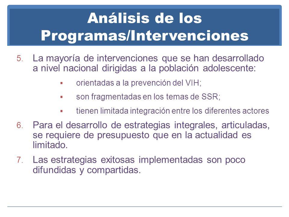 Análisis de los Programas/Intervenciones 5. La mayoría de intervenciones que se han desarrollado a nivel nacional dirigidas a la población adolescente