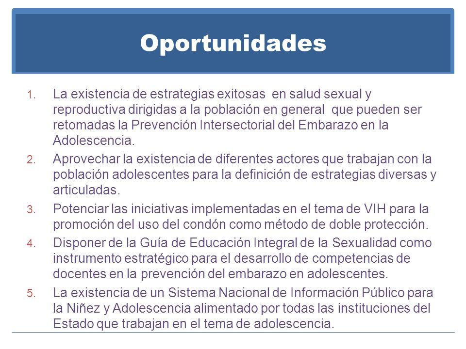 Oportunidades 1. La existencia de estrategias exitosas en salud sexual y reproductiva dirigidas a la población en general que pueden ser retomadas la