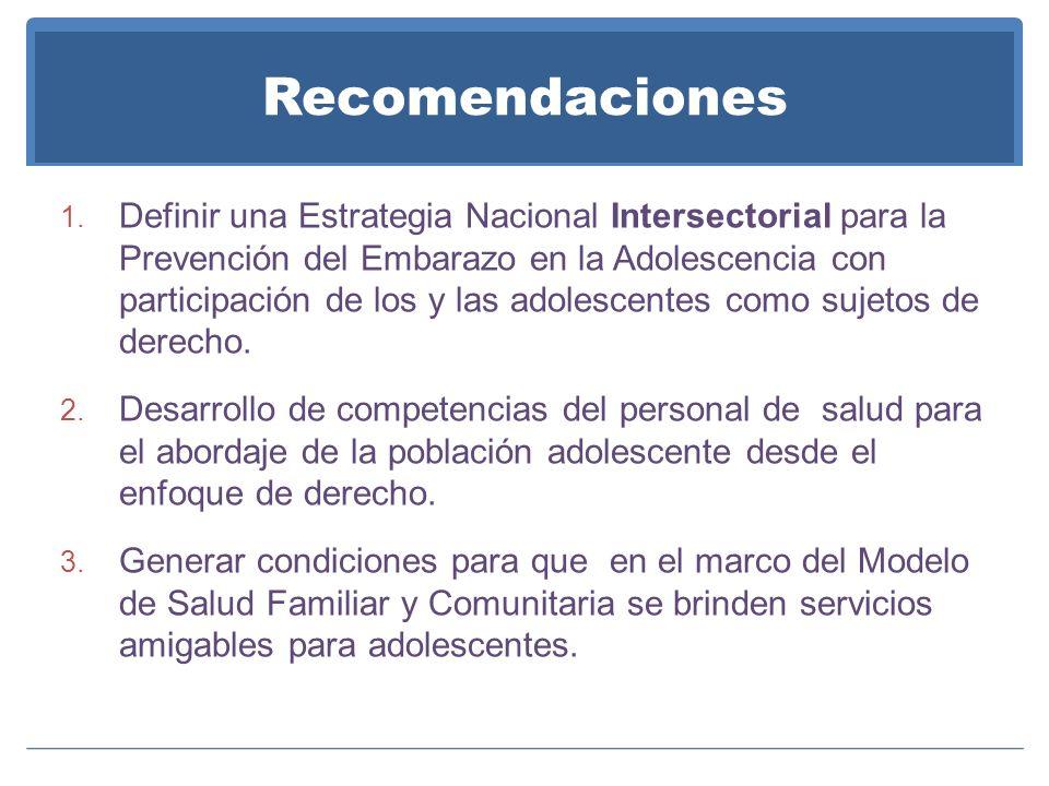 Recomendaciones 1. Definir una Estrategia Nacional Intersectorial para la Prevención del Embarazo en la Adolescencia con participación de los y las ad