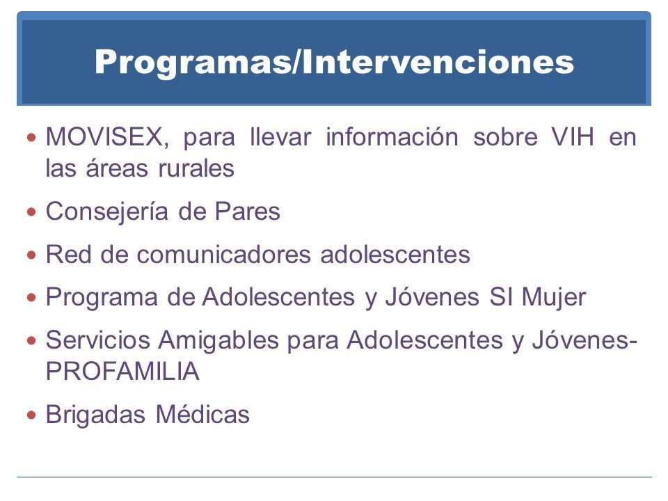 Programas/Intervenciones MOVISEX, para llevar información sobre VIH en las áreas rurales Consejería de Pares Red de comunicadores adolescentes Programa de Adolescentes y Jóvenes SI Mujer Servicios Amigables para Adolescentes y Jóvenes- PROFAMILIA Brigadas Médicas