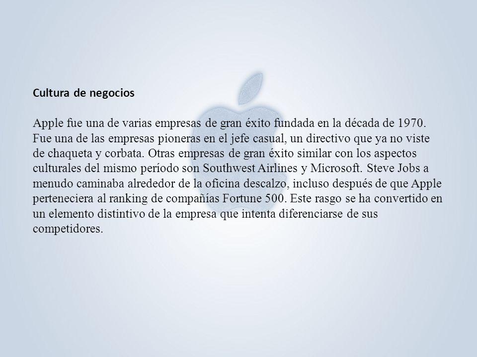Cultura de negocios Apple fue una de varias empresas de gran éxito fundada en la década de 1970. Fue una de las empresas pioneras en el jefe casual, u