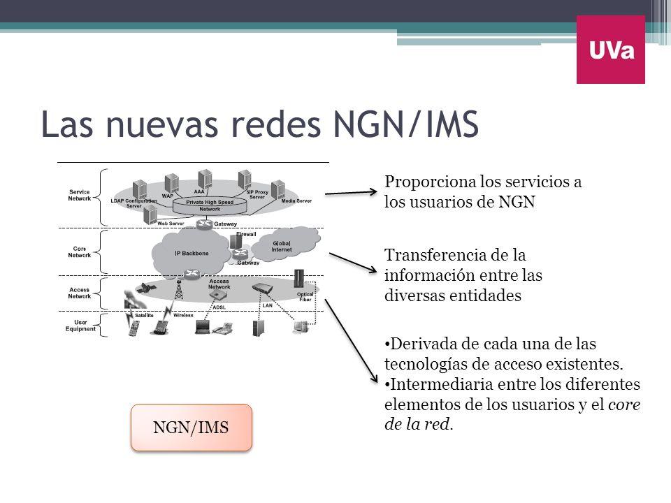 Las nuevas redes NGN/IMS NGN/IMS Proporciona los servicios a los usuarios de NGN Transferencia de la información entre las diversas entidades Derivada