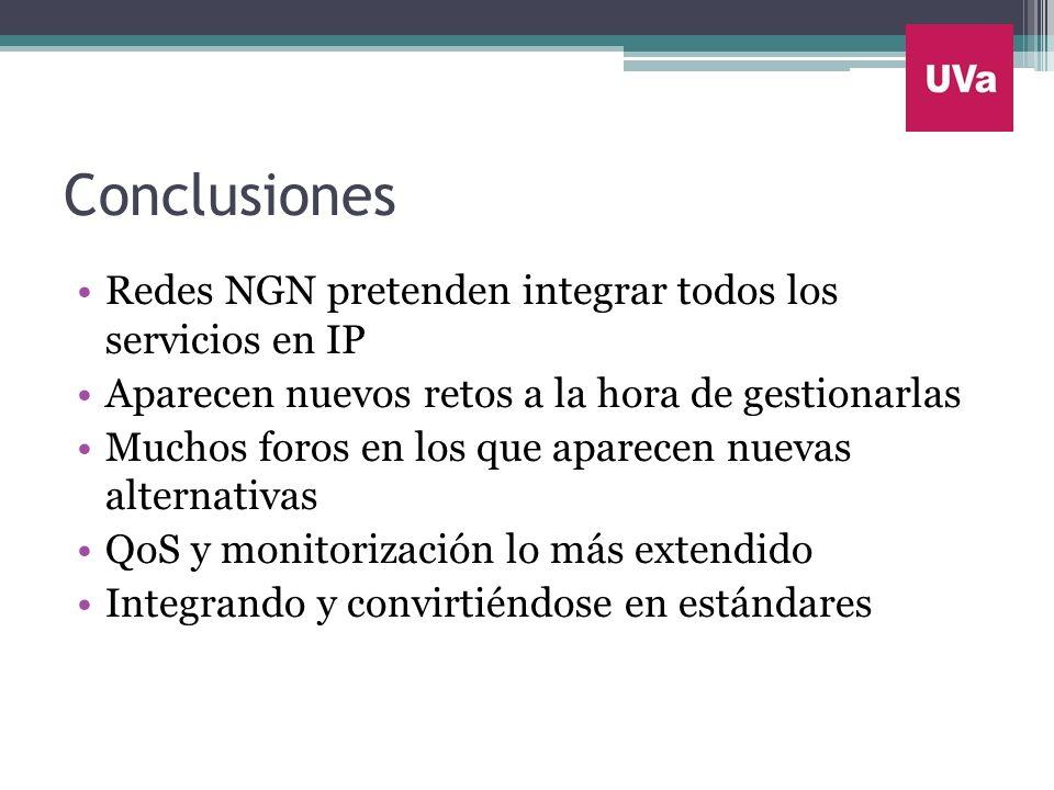 Conclusiones Redes NGN pretenden integrar todos los servicios en IP Aparecen nuevos retos a la hora de gestionarlas Muchos foros en los que aparecen n