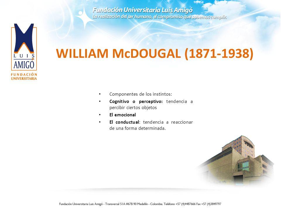 WILLIAM McDOUGAL (1871-1938) Componentes de los instintos: Cognitivo o perceptivo: tendencia a percibir ciertos objetos El emocional El conductual: tendencia a reaccionar de una forma determinada.