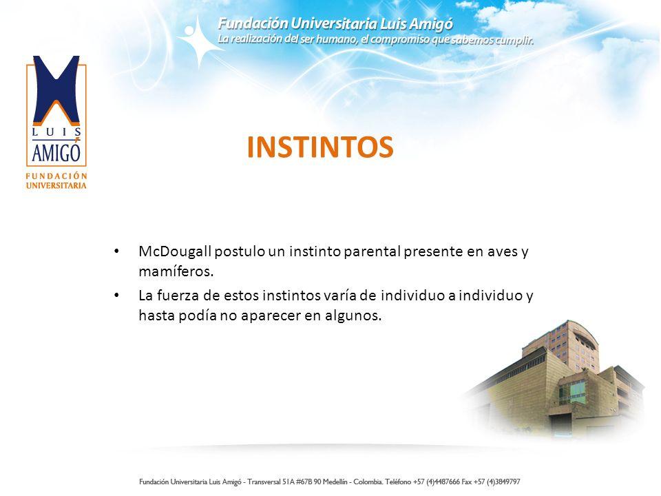INSTINTOS McDougall postulo un instinto parental presente en aves y mamíferos. La fuerza de estos instintos varía de individuo a individuo y hasta pod