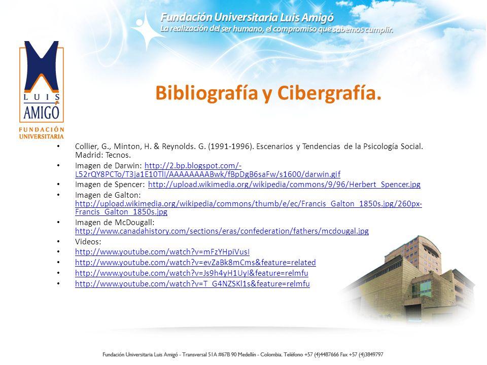 Bibliografía y Cibergrafía. Collier, G., Minton, H. & Reynolds. G. (1991-1996). Escenarios y Tendencias de la Psicología Social. Madrid: Tecnos. Image