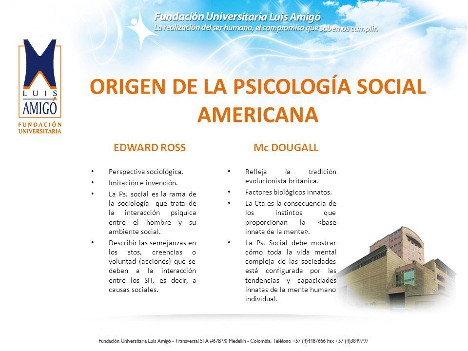 ORIGEN DE LA PSICOLOGÍA SOCIAL AMERICANA EDWARD ROSS Perspectiva sociológica. Imitación e invención. La Ps. social es la rama de la sociología que tra