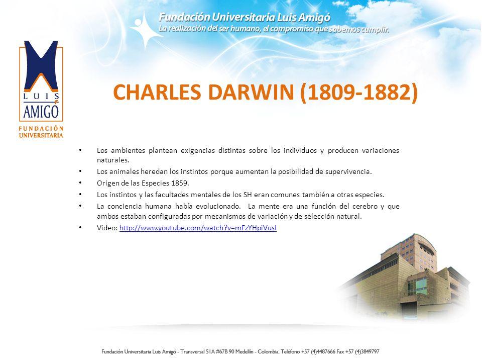 CHARLES DARWIN (1809-1882) Los ambientes plantean exigencias distintas sobre los individuos y producen variaciones naturales. Los animales heredan los