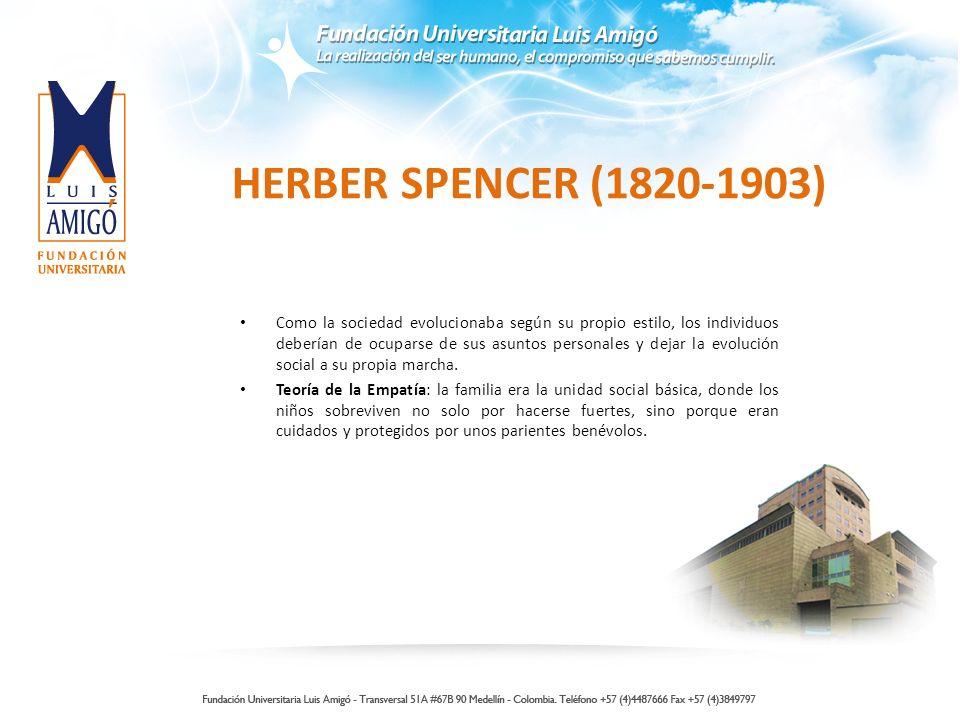 HERBER SPENCER (1820-1903) Como la sociedad evolucionaba según su propio estilo, los individuos deberían de ocuparse de sus asuntos personales y dejar la evolución social a su propia marcha.