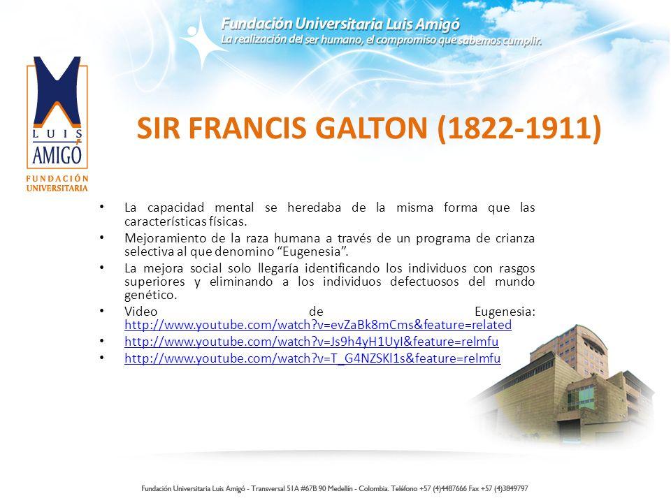SIR FRANCIS GALTON (1822-1911) La capacidad mental se heredaba de la misma forma que las características físicas. Mejoramiento de la raza humana a tra