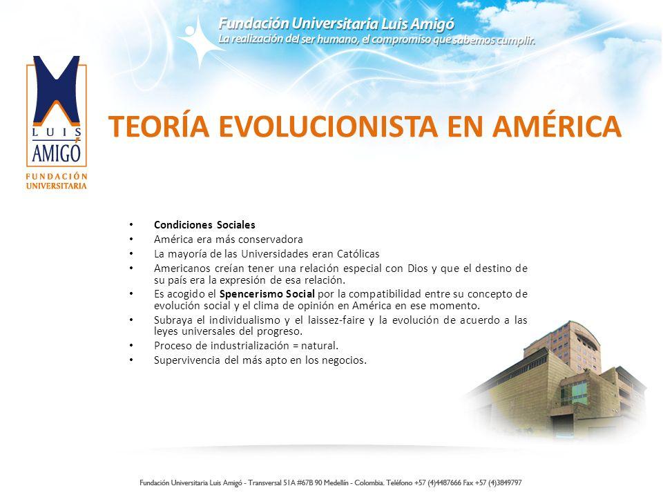 TEORÍA EVOLUCIONISTA EN AMÉRICA Condiciones Sociales América era más conservadora La mayoría de las Universidades eran Católicas Americanos creían ten