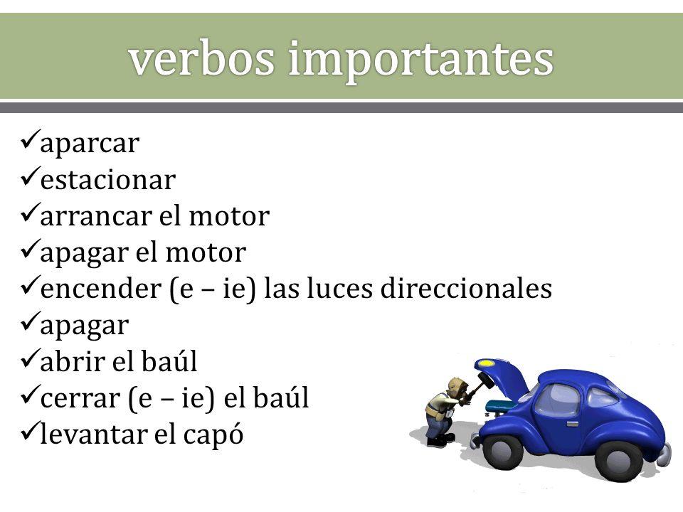 el coche gasolina sin plomo el tanque las llantas / las gomas el aceite los frenos el parabrisas los limpiaparabrisas la batería