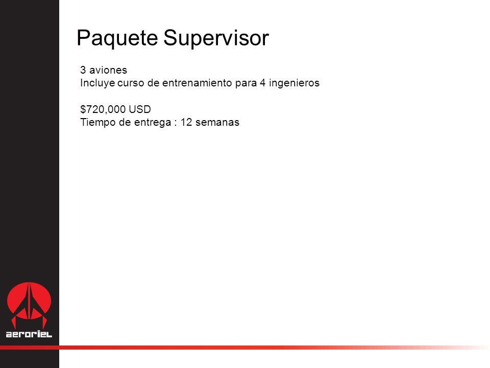 Paquete Supervisor 3 aviones Incluye curso de entrenamiento para 4 ingenieros $720,000 USD Tiempo de entrega : 12 semanas