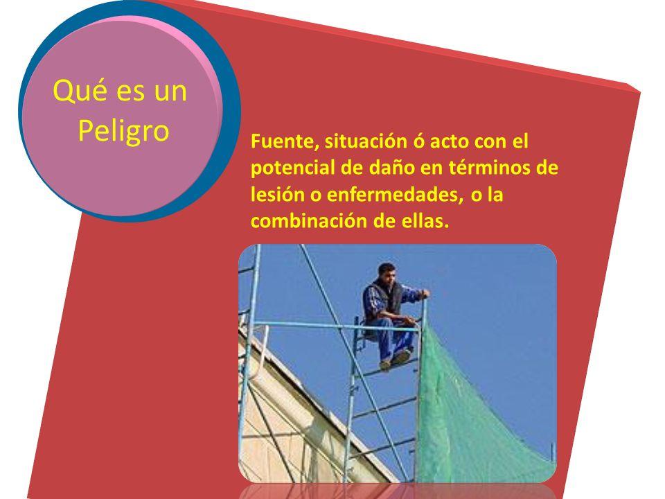 Fuente, situación ó acto con el potencial de daño en términos de lesión o enfermedades, o la combinación de ellas.