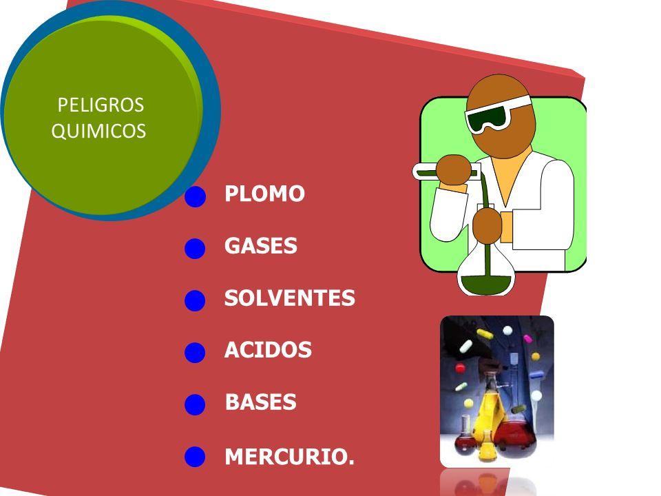 PLOMO GASES SOLVENTES ACIDOS BASES MERCURIO. PELIGROS QUIMICOS