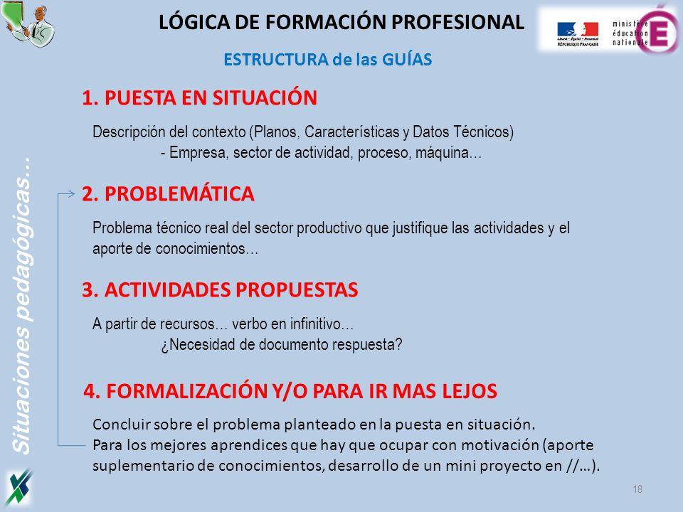 1. PUESTA EN SITUACIÓN Descripción del contexto (Planos, Características y Datos Técnicos) - Empresa, sector de actividad, proceso, máquina… 2. PROBLE