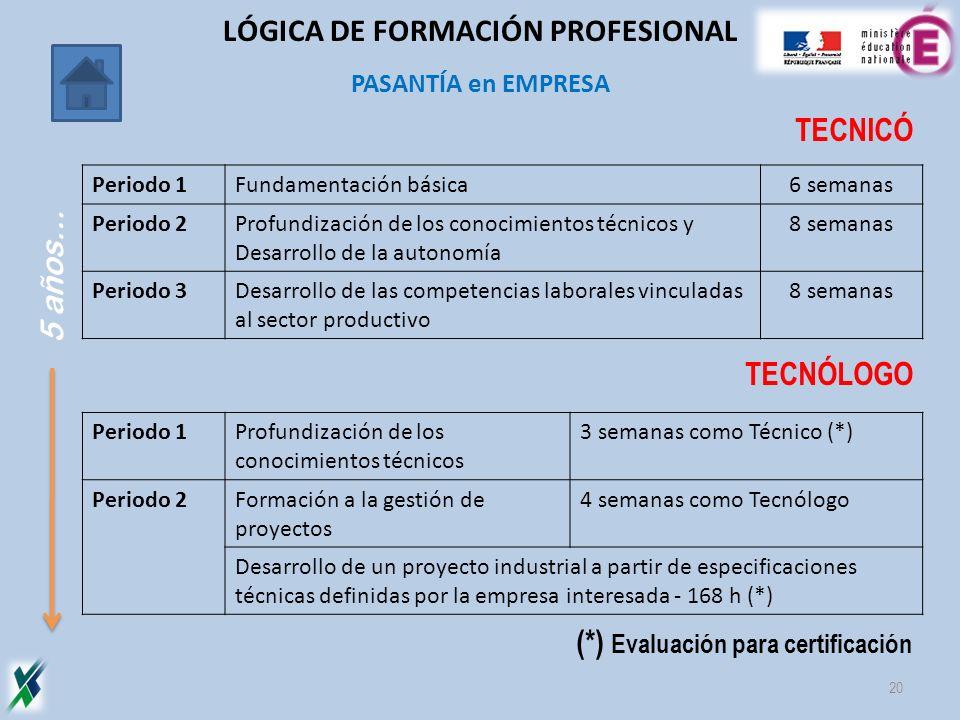 PASANTÍA en EMPRESA 20 TECNICÓ TECNÓLOGO (*) Evaluación para certificación Periodo 1Fundamentación básica6 semanas Periodo 2Profundización de los cono