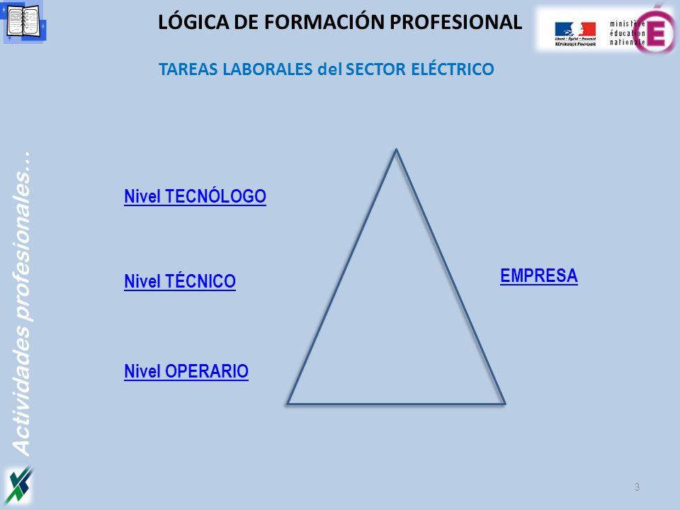 TAREAS LABORALES del SECTOR ELÉCTRICO Actividades profesionales… 3 LÓGICA DE FORMACIÓN PROFESIONAL Nivel OPERARIO Nivel TECNÓLOGO Nivel TÉCNICO EMPRES