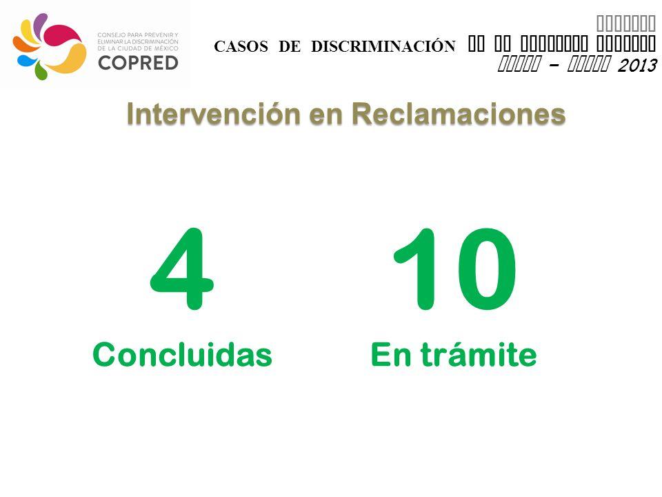 INFORME CASOS DE DISCRIMINACIÓN EN EL DISTRITO FEDERAL enero – marzo 2013 4 Concluidas Intervención en Reclamaciones 10 En trámite