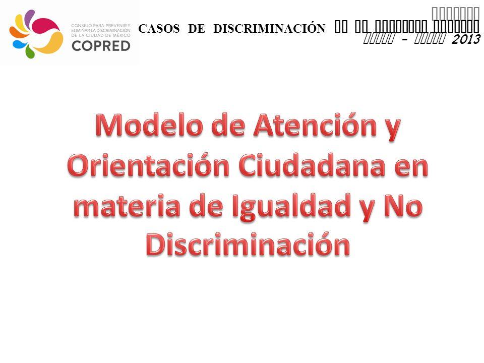 INFORME CASOS DE DISCRIMINACIÓN EN EL DISTRITO FEDERAL enero - marzo 2013