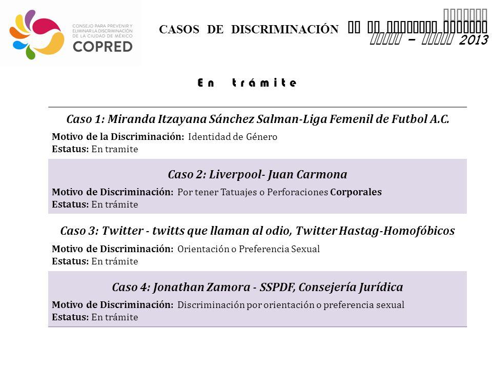 INFORME CASOS DE DISCRIMINACIÓN EN EL DISTRITO FEDERAL enero – marzo 2013 Caso 1: Miranda Itzayana Sánchez Salman-Liga Femenil de Futbol A.C.