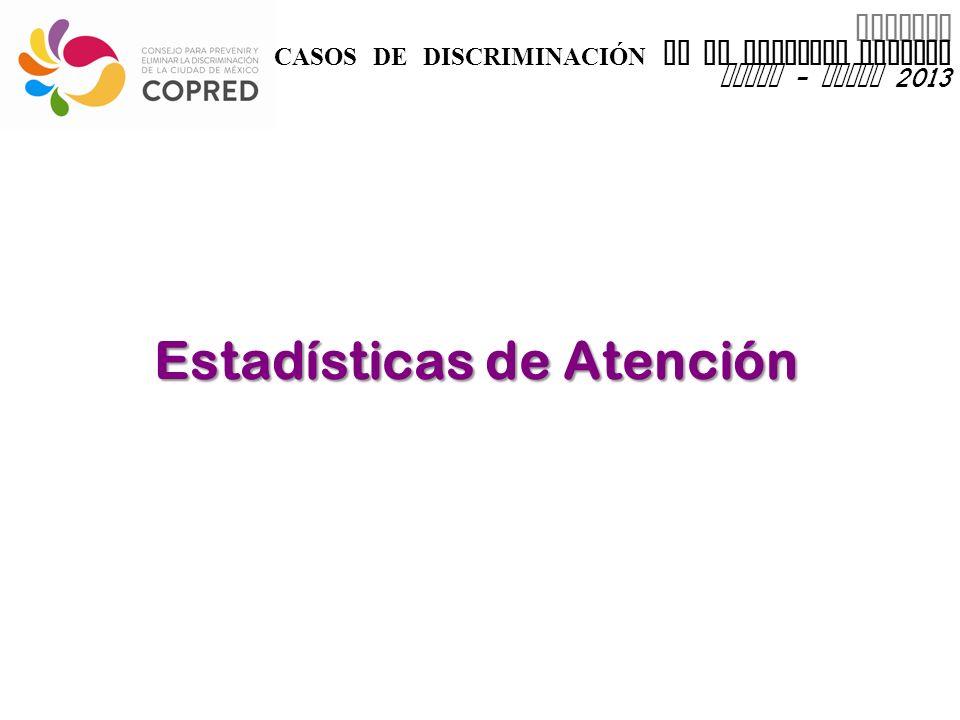 INFORME CASOS DE DISCRIMINACIÓN EN EL DISTRITO FEDERAL enero - marzo 2013 Estadísticas de Atención