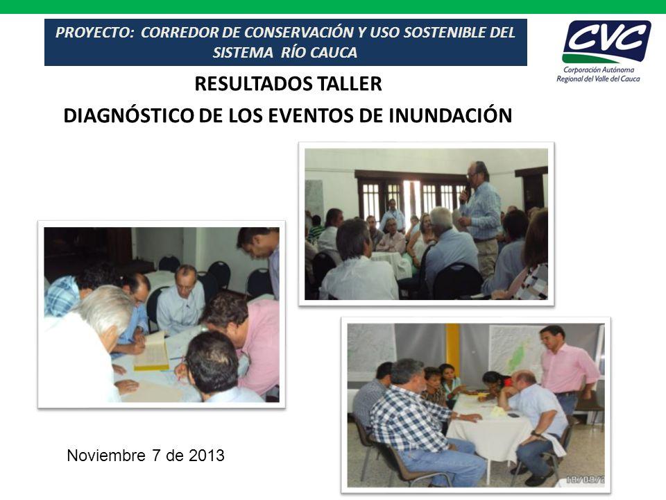 PROYECTO: CORREDOR DE CONSERVACIÓN Y USO SOSTENIBLE DEL SISTEMA RÍO CAUCA Noviembre 7 de 2013 RESULTADOS TALLER DIAGNÓSTICO DE LOS EVENTOS DE INUNDACI